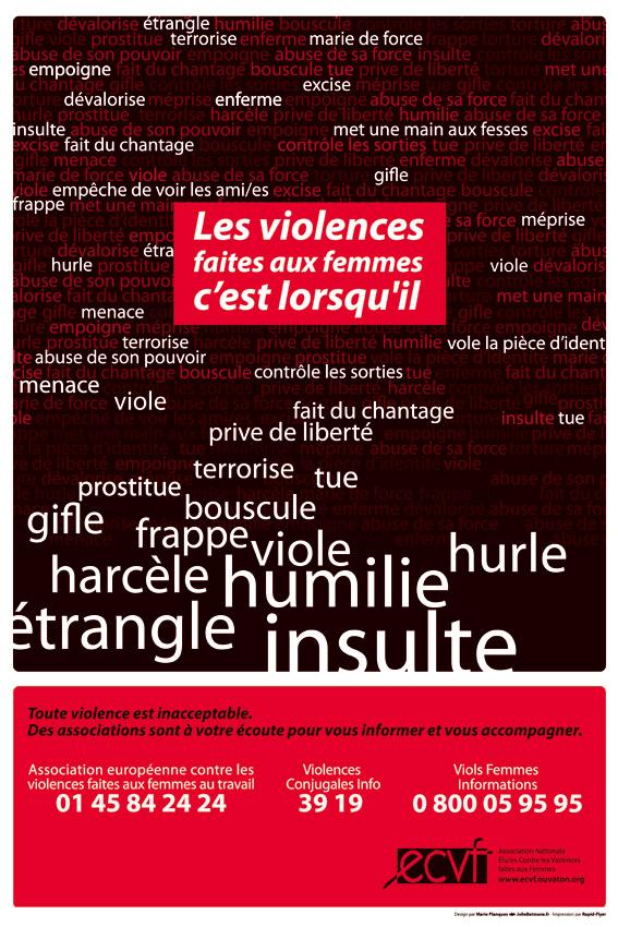 """Affiche """"les violences faites aux femmes"""" ECVF"""