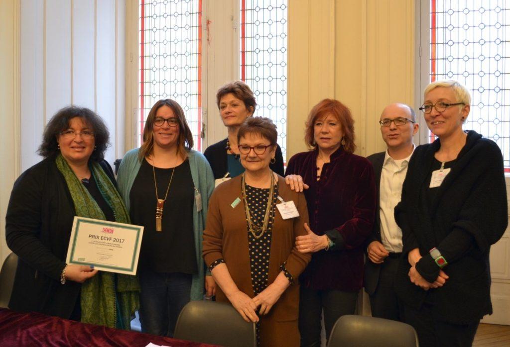 Prix ECVF 2017 - Les représentantes de la ville primée, le sénateur André Gattolin, Eva Darlan, Sabine Salmon, Françoise Toutain et Carmelina de Pablo